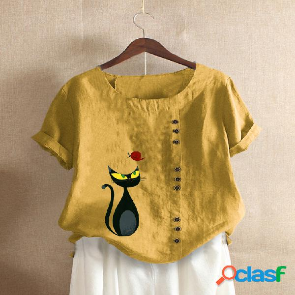 Cartoon gato camiseta de manga corta con cuello redondo y estampado