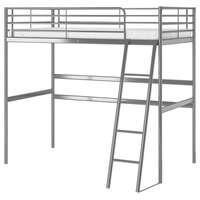 Estructura cama alta, gris plata, 90x200 cm