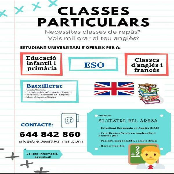 Classes particulars de reforç i repas / cangur