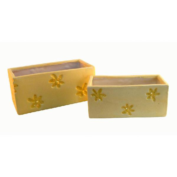 Set 2 jardineras amarillas de cerámica r9664