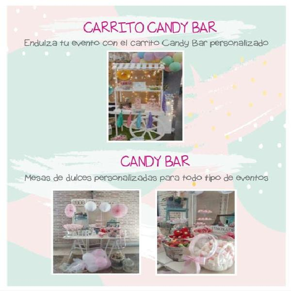 Candy bar o carrito candy bar para eventos