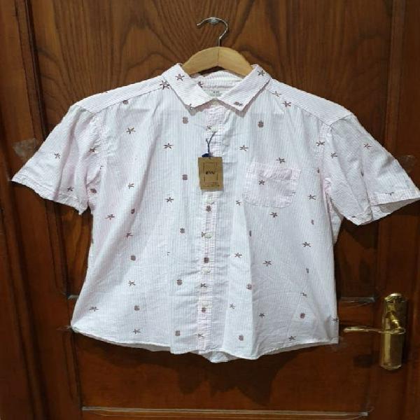 Nueva etiquetas camisa manga corta hombre piñas