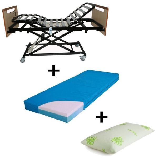 Cama con carro elevador + colchon visco + almohada + envio
