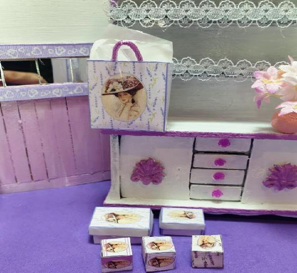 Casas muñecas. miniaturas 1:12. conjunto bolsas y cajas.