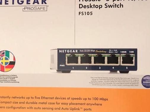 Switch netgear pro-safe metalico 4 puertos.
