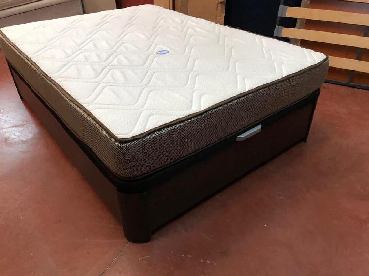 Cama 135x190. canapé madera wengue y colchón visco