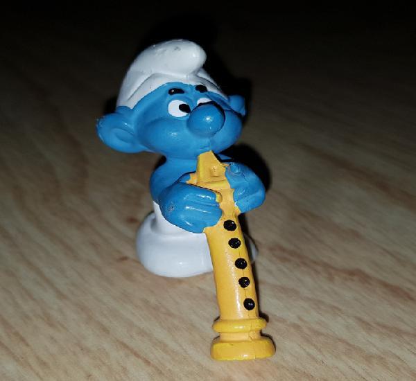 Figura pvc goma pitufo músico flauta música muñeco