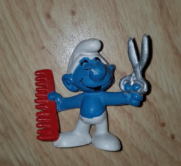 Figura pvc goma pitufo peluquero smurfs muñeco colección