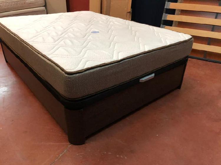 Cama 135x190 canapé madera wengue+colchón visco