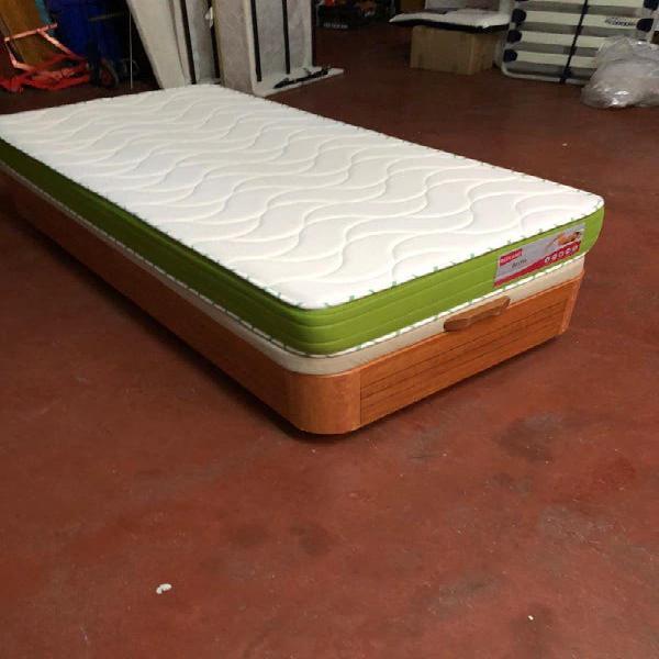 Cama 90x190 canapé madera cerezo+colchón visco