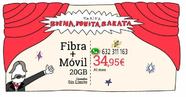 Internet fibra 100 migas más 20 gigas barato