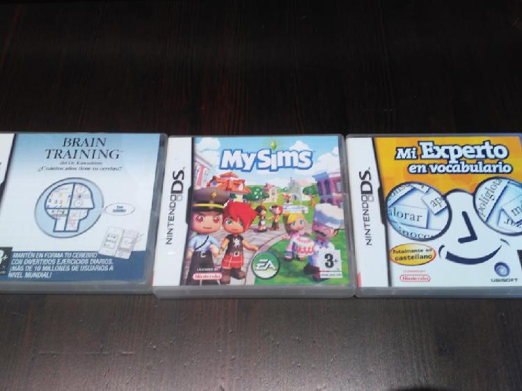 3 juegos nintendo ds, my sims, brain training,...