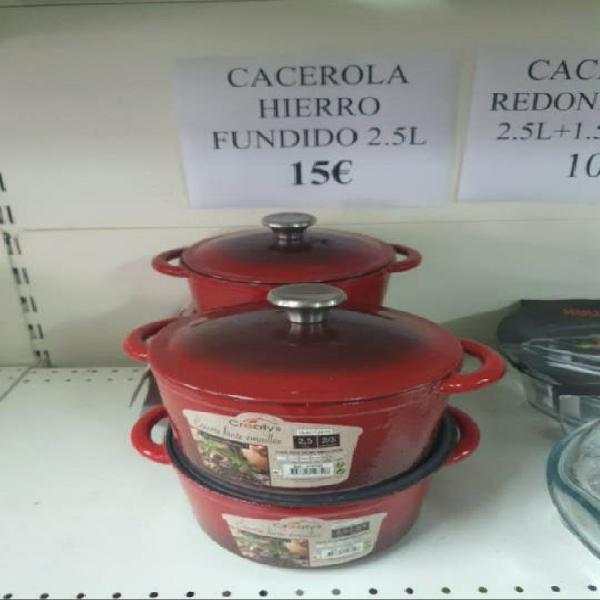 Cacerola hierro fundido 2.5l 15€ stock fuera