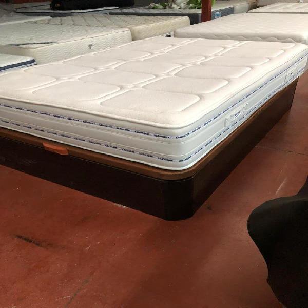 Cama 135x190 canapé madera wengue granbox+colchon