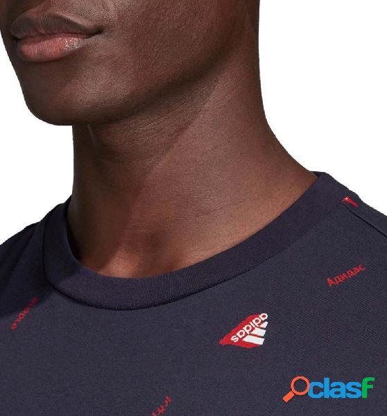 Camiseta M/c Casual Hombre Adidas Mhe Tee Gfx 2 Azul Marino M 1