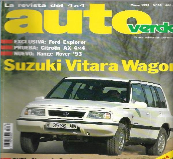 Auto verde 4x4 nº 36 (1992). ford explorer, citroen ax 4x4,