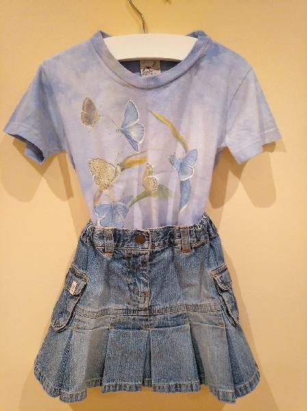 Conjunto camiseta niña falda tejana 2 años
