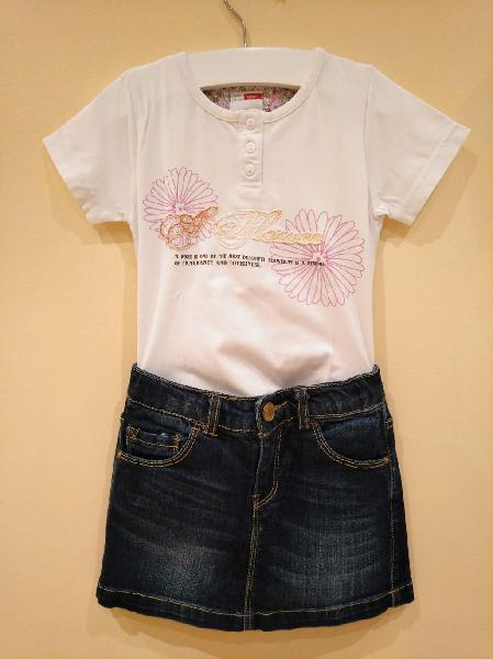 Conjunto camiseta niña falda tejana 5-6 años