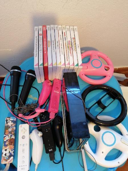 Consola nintendo wii, con 11 juegos y accesorios