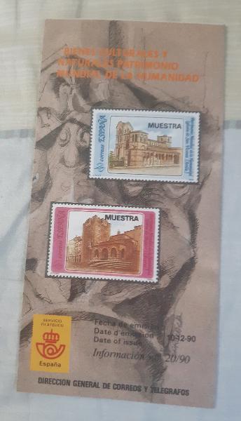 Folleto emisión sellos bienes culturales 1990