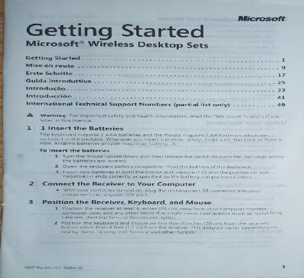 Getting started microsoft wireless desktop sets