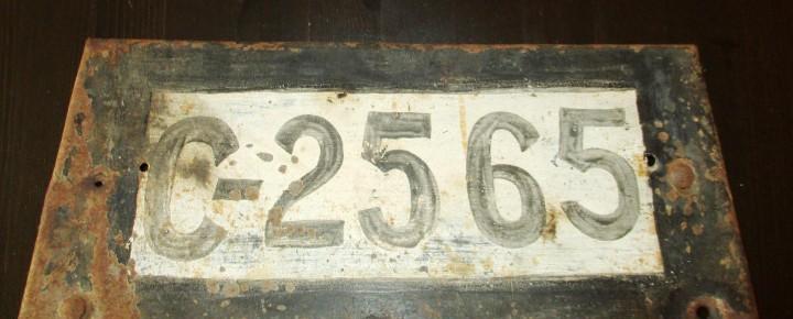 Matrícula de la coruña del año 1928. c-2565. placa