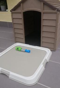Caseta de perro y bandeja de 60x60