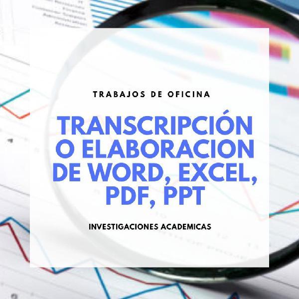 Elaboración de documentos word, excel, pdf, ppt