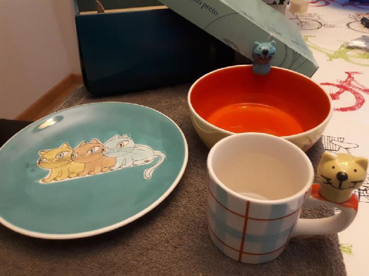 Set original de taza, plato y bol a juego nuevo