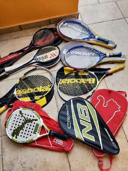 Lote raquetas tenis,pádel,squash,fundas.