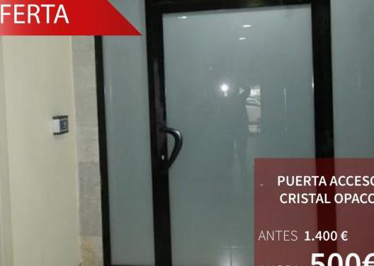 Puerta acceso cristal opaco