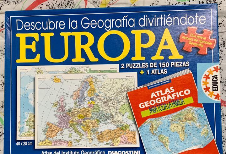 Puzzle de mapa de europa. físico y político. contiene 2