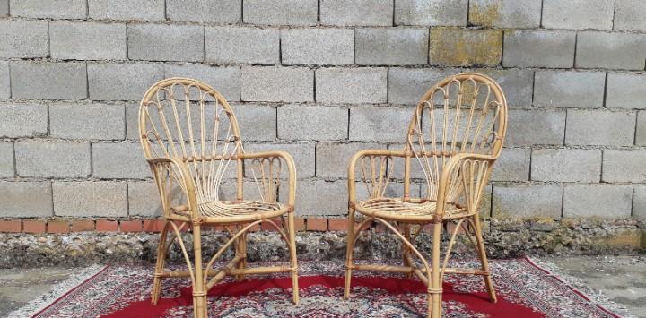2 dos sillas antiguas de mimbre bambú caña. pareja de