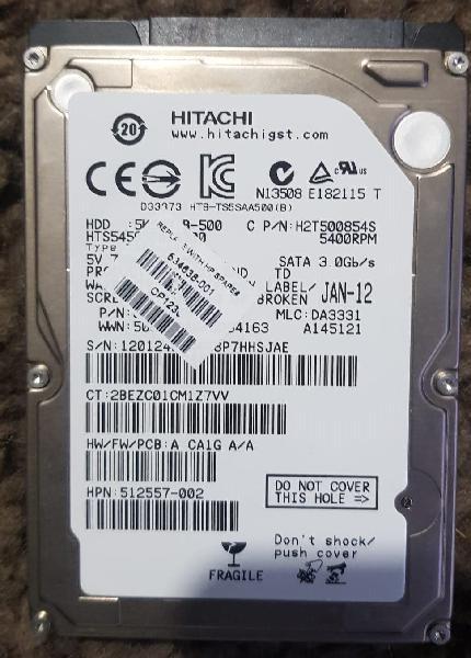 """Disco duro 500gb 2,5"""" hitachi en perfecto estado"""
