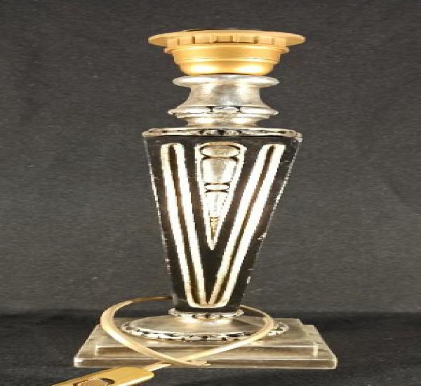 Pie de lámpara estilo clásico. negro y plata. c17