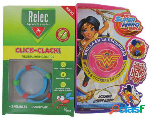Relec pulsera antimosquitos + stick wonder woman