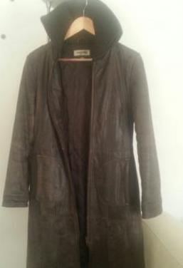 Abrigo 3/4 cuero marrón i mujer, talla s