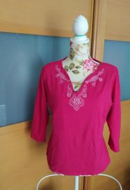 Camiseta rosa manga francesa