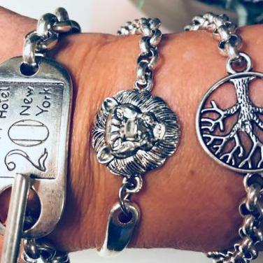 Conjunto de pulseras bañadas plata original