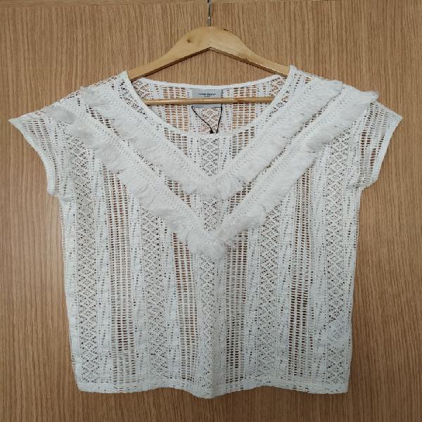 Camiseta crochet flecos