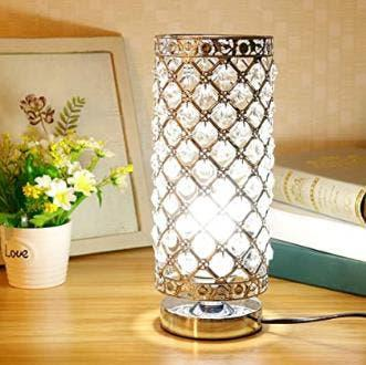 Lámpara de mesa de cristal, plata e27 base decorat