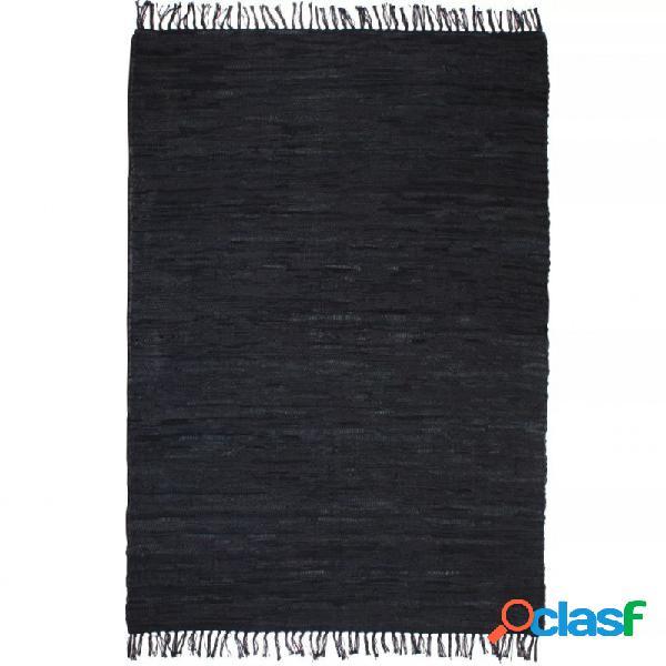 Alfombra tejida amano chindi cuero 80x160cm negro vida xl