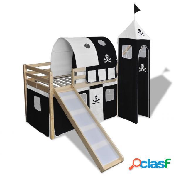 Cama alta para niños con tobogán y escaleraadera blanca/negra vida xl