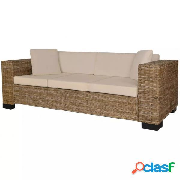 Conjunto de sofá de 3 plazas ratán auténtico vida xl