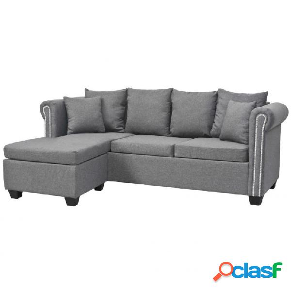 Sofá en forma de l tela gris claro 200x140x73cm vida xl