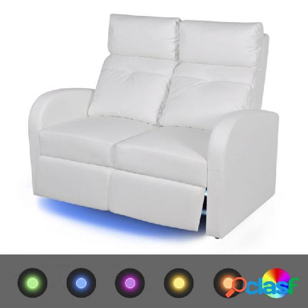 Sofá reclinable led 2 plazas de cuero artificial blanco vida xl