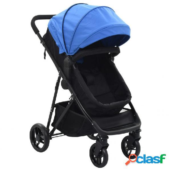Cochecito/silla de bebé 2 en 1 acero azul y negro vida xl