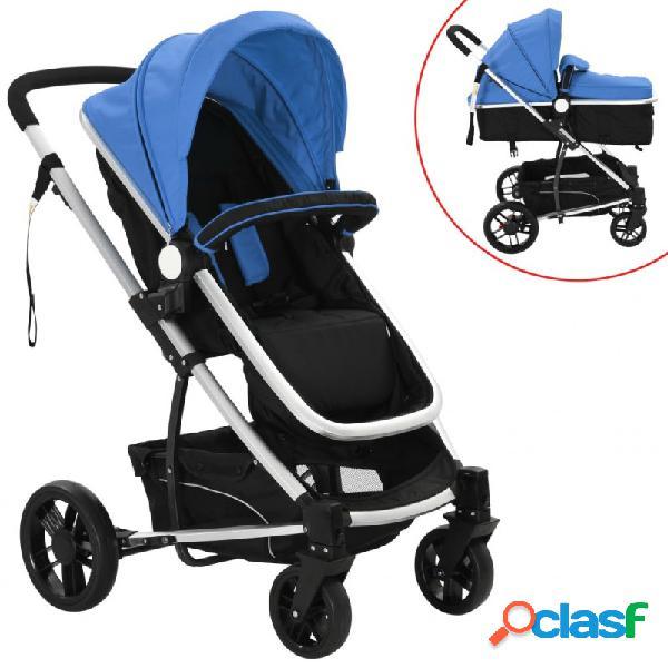 Cochecito/silla de bebé 2 en 1 aluminio azul y negro vida xl