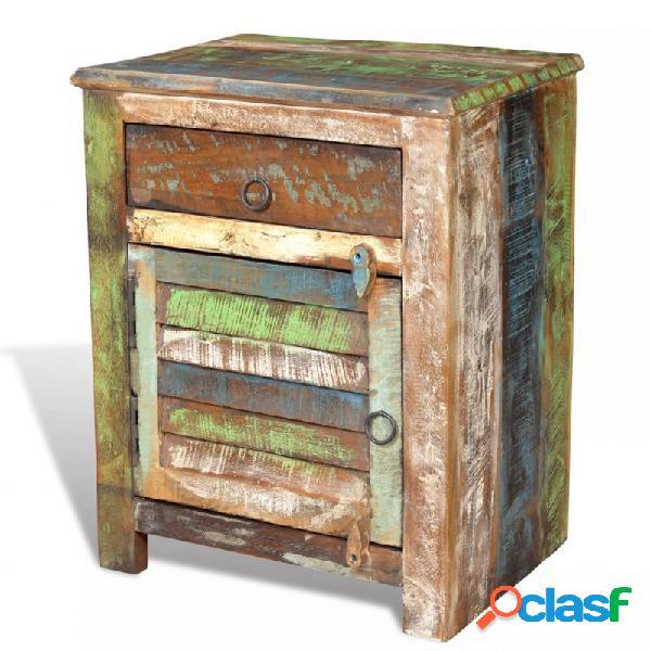 Mesita auxiliar con 1 cajón y 1 puerta madera reciclada vida xl