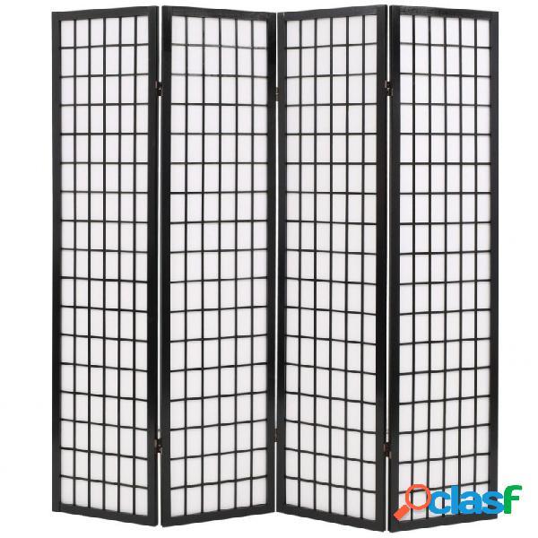 Biombo plegable con 4 paneles estilo japonés 160x170cm negro vida xl
